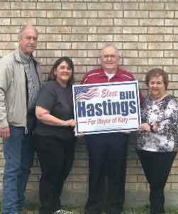 "Former Mayor of Katy Fabol Hughes, wife Paula and Daughter Kim: ""We support Bill. He is a proven leader with a great work ethic. He has an open door policy and his word is as good as a handshake. Good as gold!""<br>Thank you Hughes Family for your support!"
