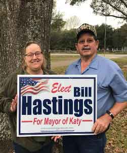 "Kay Beckendorff Sword and Perry Sword (Retired, Director of ER Memorial Hermann Hospital/Retired, KISD Employee): ""We support Bill for the next Mayor of Katy!"" Bill Hastings for Mayor of Katy<br>Thank you both for your support!"