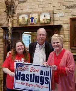 "Brenda Hunter (KISD Educator): ""I fully support Bill Hastings as our new Mayor. He will be great for Katy!""Patty Hunter McAlister (Retired KISD Educator): ""I have known Bill Hastings for 30 years. He will do a wonderful job as Mayor of our City!""<br>Thank you both for your support!"