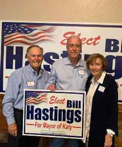 Charles and I were glad to be a part of the kick-off of Bill Hastings for Mayor of Katy. He has been a good friend and we love his family.